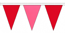 RED AND PINK TRIANGULAR BUNTING - 10m / 20m / 50m LENGTHS